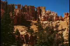Bryce Canyon National Park, Utah, view from below, looking up, details, wide Stock Footage