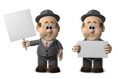 wilfred holding blank signs - stock illustration