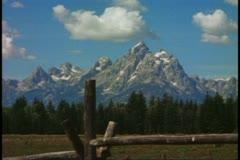 Grand Teton National Park, front range, wide shot, classic view, split rail Stock Footage