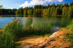 Stock Photo of autumnal lake near the forest