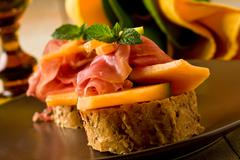 Stock Photo of ham and melon appetizer