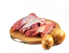 red raw meat over white - stock photo