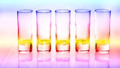 Stock Photo of a row of glasses for vodka