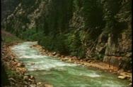 Durango Silverton Railroad, POV from train, alongside river, Durango, Colorado Stock Footage