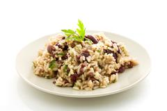 risotto with black olives - stock photo