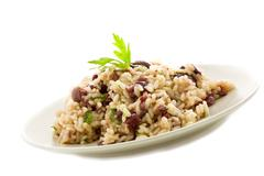 Risotto with black olives Stock Photos