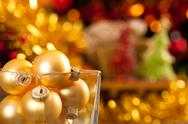 Gold christmas balls Stock Photos