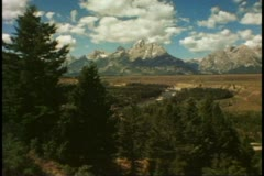 Grand Teton National Park, front range, wide shot, classic view - stock footage