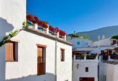 street of old spanish town. - stock photo