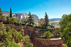 view on canyon and old city of andalusia - stock photo