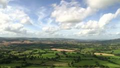 Green fields in the English countryside Stock Footage