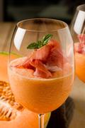 ham and melon cocktail - stock photo