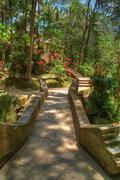 Hindu Temple Garden - stock photo