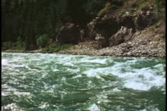 White Water Rafting on the Snake River, POV into rapids, Jackson Hole, Wyoming Stock Footage