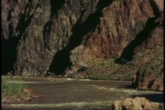 The Grand Canyon, view from the bottom of cliffs and the Colorado River Stock Footage