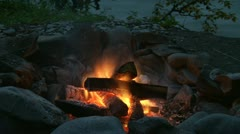Campfire by River Burns Down timelapse Stock Footage