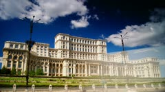 Stock Video Footage of Romanian Parliament ex People's House in Bucharest, capital city of Romania.