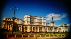 Romanian Parliament ex People's House in Bucharest, capital city of Romania. Stock Footage