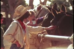 The Grand Canyon mule ride, medium shot woman pets nose of mule Stock Footage