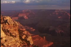 The Grand Canyon, medium wide view at sunset, classic shot Stock Footage