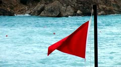 Triangular Red Flag Stock Footage