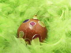 Stock Photo of green feathers and christmass ball