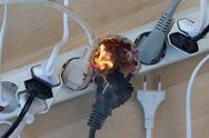 Electrical fire Stock Photos