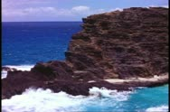 Hawaii, Island of Oahu cliffs and sea, rugged and jagged, medium shot Stock Footage