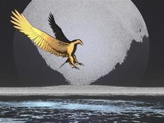 Pencil sketch of Golden eagle - stock illustration