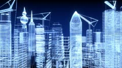 City under construction in blue sky Stock Footage