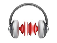 Headphones with sound waves Stock Illustration
