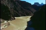 The Grand Canyon, view from the bottom, backlight of The Colorado River Stock Footage