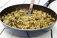 pan with rice - stock photo