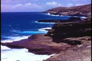 Hawaii, Island of Oahu cliffs and sea, rugged and jagged, wide shot Stock Footage