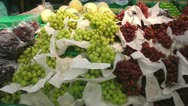 Stock Video Footage of Grapes and other fruits in a fruit stall