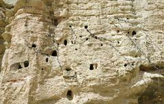 Ancient human settlement in nepalese caves Stock Photos