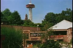 Gatlinburg Tennessee, 1970's, wide shot  with tower, Amusement Center Stock Footage