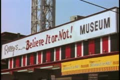 """Gatlinburg Tennessee, 1970's, close up of """"Ripley's Believe It or Not"""" sign Stock Footage"""
