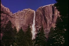 Yosemite National Park, California, wide shot, upper falls in winter, classic Stock Footage
