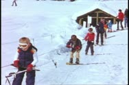 Yosemite National Park, California, children learning to ski, practice tow rope Stock Footage