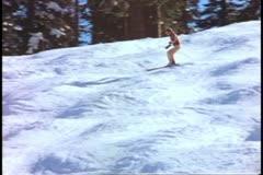 Yosemite National Park, California, skiing fast downhill, medium wide - stock footage