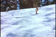 Yosemite National Park, California, skiing fast downhill, medium wide Stock Footage