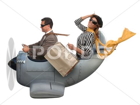 Stock photo of flying to europe
