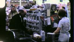 SUPERMARKET CHECK OUT Line Clerk Grocery Store 1970 Vintage Film Home Movie 3741 Stock Footage