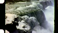 Stock Video Footage of Niagara Falls Winter Nature Scenic WATERFALL 1950s Vintage Film Home Movie 3743