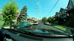 Small Town Neighborhood Driving Stock Footage