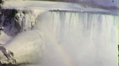 Niagara Falls Winter Nature Scenic WATERFALL 1950s Vintage Film Home Movie 3747 Stock Footage