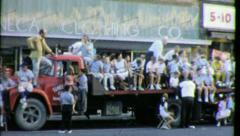 SPECTATORS Crowd MAIN STREET American Parade 1960 Vintage Film Home Movie 3756 Stock Footage