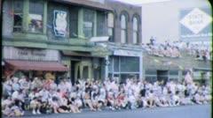 SPECTATORS Crowd MAIN STREET American Parade 1960 Vintage Film Home Movie 3757 Stock Footage