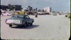 CARS Drive ON THE BEACH Daytona Florida 1970s Vintage Retro Film Home Movie 3761 - stock footage